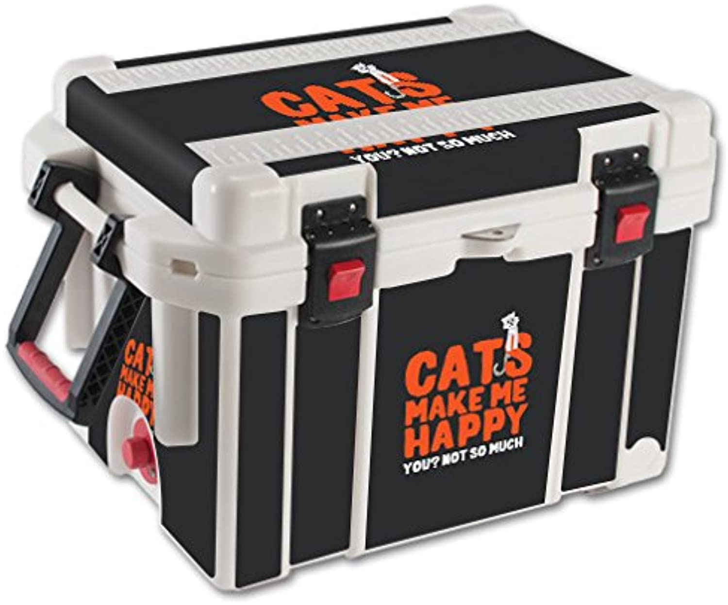 MightySkins Skin Compatible with Pelican 35 qt Cooler – Cats Make Me Happy   Predective, Durable, and Unique Vinyl Decal wrap Cover   Easy to Apply, Remove, and Change Styles   Made in The USA