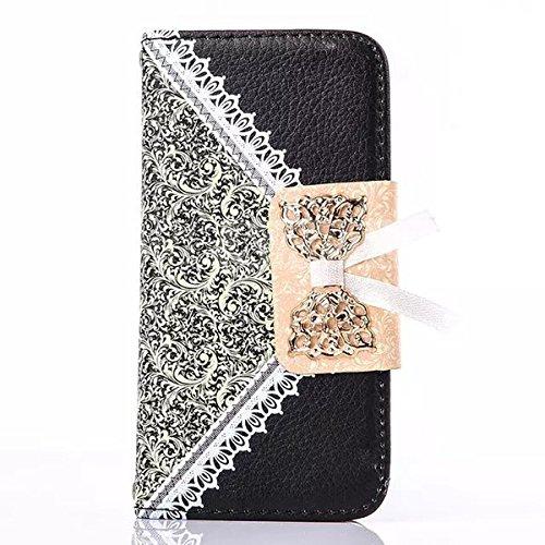 Funda para iPhone 6S, Funda de Piel con Tapa de 4.7 Pulgadas, Cartera de Princesa con Cristales de estrás