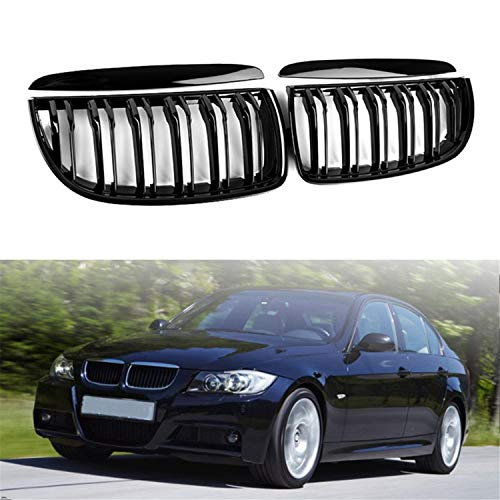 2X Euro Front Upper Kidney Grille Grill LH RH Replacement for BMW Car E90 Pre-Facelift Glossy Black, Grille only
