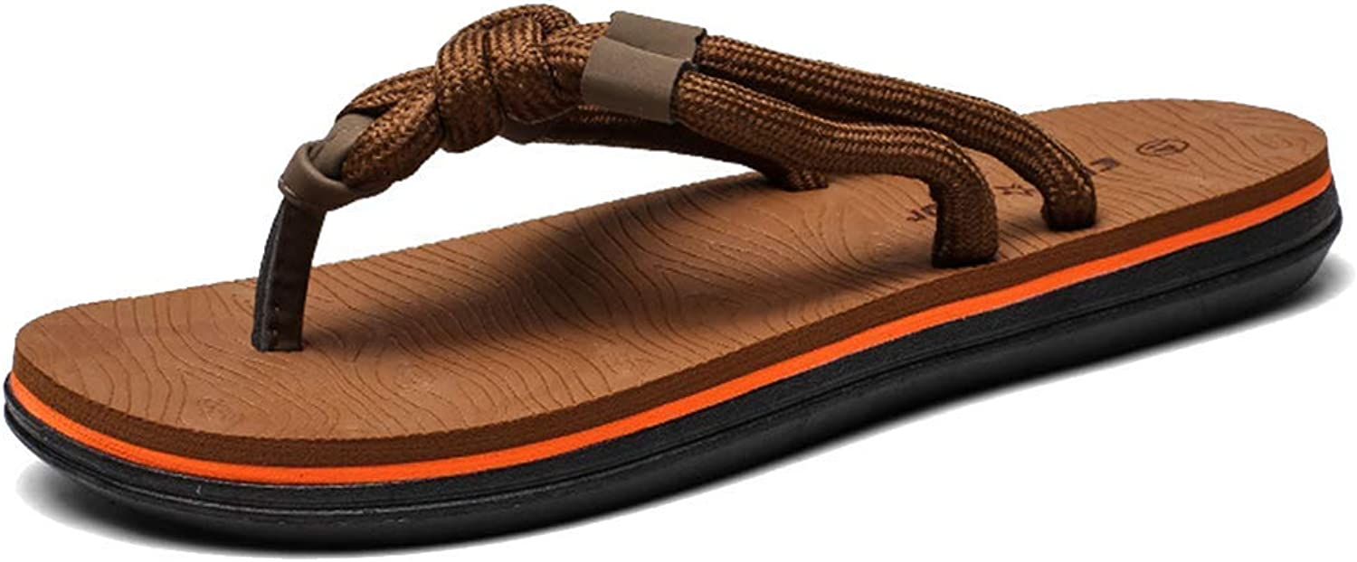 L-X Mens Walking Flip Flops Slippers Summer Support Outdoor Thongs Pool Fashion Leisure Beach shoes Large Size Sandals, brown, 45 EU