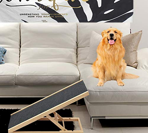 Best Companions Durable Wood Ramps,Good Couch Access for Dogs and Cats-Support up to 110lb,Non-Slip Carpet Surface,Great for Older Animals,Four Different Adjustable Heights Pets Ramp,11.8-23.6Inch