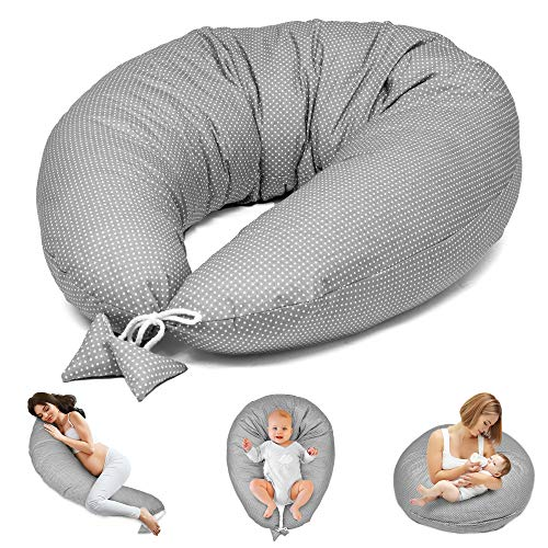 Almohada Embarazada y Cojin Lactancia - Cojín Embarazo Maternidad Dormir y Cojines Nido Bebe Grande (9. Gris con Pequeñas Manchas Blancas, 165 x 70 cm)