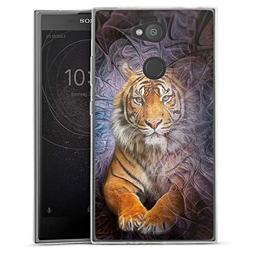 Silikon Hülle kompatibel mit Sony Xperia L2 Hülle transparent Handyhülle Tiger Dschungel Tiere