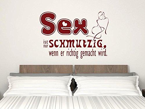 GRAZDesign Schlafzimmer Tattoo lustiges Motiv über Bett, Wandaufkleber Wanddeko romantisch & erotisch, Wandtattoo Sex ist nur schmutzig / 73x50cm / 091 Gold
