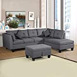 DKLGG Sectional Couch L-Shaped 3-Piece Sofa with Chaise Lounge and Storage Ottoman Linen Upholstery for Living Room Furniture Small Space Use, Gray