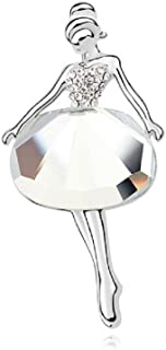 Crystalline Azuria Spilla a forma di cuore con fiori bianchi e neri con cristalli Swarovski placcati in oro 18 ct da donna