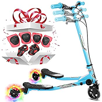 Y Fliker LED Light Up Swing Wiggle Scooter Kids Three Wheels Speeder with 3 Level Adjustable Handlebar and Quick-Release Folding System for Boys and Girls Age 3-10  Blue