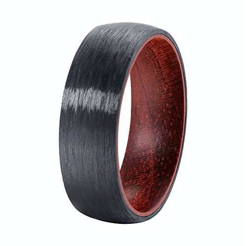 POYA 8mm Pure Black Carbon Fiber Ring Domed Wedding Band Rosewood Interior (13.5)