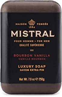 Mistral Triple Milled Exfoliating Bar Soap Organic Grapeseed and Natural Glycerin - Bourbon Vanilla - Made in France, 8.8 oz