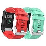 MoKo Correa para Garmin Vivoactive HR Reloj, [2 PACK] Suave Silicona Banda para Garmin Vivoactive HR Sports GPS Smart Watch con Herramienta para Instalación, 2PACK-C Verde & Rojo