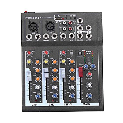 Domeilleur - Mini Mezclador de Audio con Mesa de Mezclas de Sonido USB DJ, 4 Canales, 48 V, Amplificador para Karaoke y Fiestas de TV