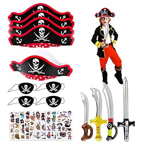 Disfraz de Pirata para Niño Accesorios de Disfraces Sombrero Espada Antifaz Tatuajes Temporales Juego de Disfraz de Pirata para Fiesta de Halloween Carnaval Fiesta Temática