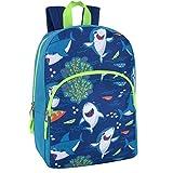 "Trail maker Kids Character Backpacks for Boys & Girls (15"") with Adjustable, Padded Back Straps (Sharks)"