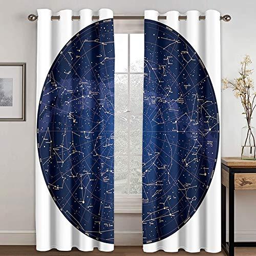 Epinki Cortinas Ventanas Salon Constelación Azul Blanco Cortinas Poliester, Disponible en 21 Tamaños, Talla 264x274CM