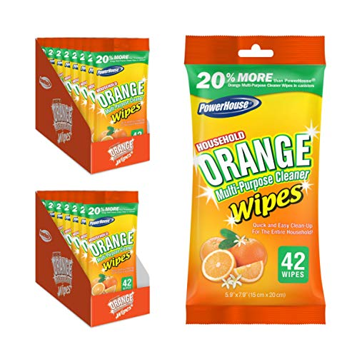 Power House Orange Citrus Multi-Purpose Cleaner Wipes - Kitchen, Countertops, Hands, Indoors, Outdoors - Removes Grease, Grime, Crayon, Dirt & More - 42ct 16 Packs, 672 Total Wipes