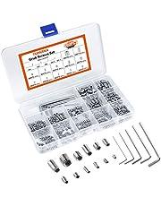 Tuparka Set van 400 stuks roestvrijstalen moeren, M3, M4, M5, M6, M8, roestvrij staal, hexagon set, schroef met sleutel in PP doos