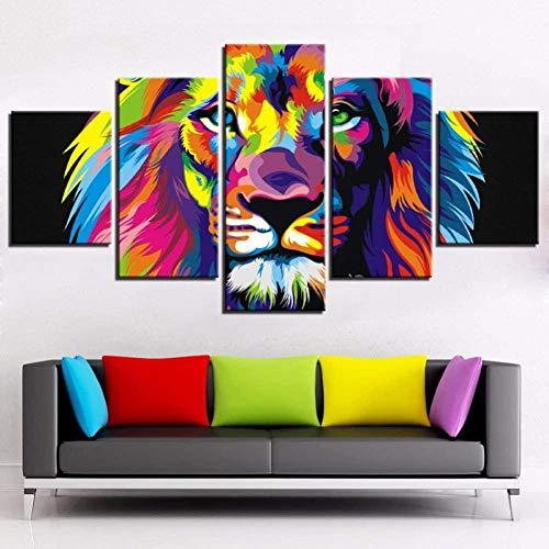 wodclockyui 5 Piezas Cuadro de Lienzo- Animales Leones Coloridos Decoración de Pared para el hogar Pinturas y Carteles de Arte HD 200cmx100cm sin Marco
