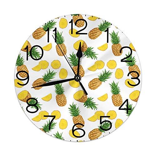 Runde Wanduhren Pine Cone Winter unter dem Motto Sich wiederholendes Muster mit Tannenbaum Samen auf neutralem Hintergrund Warm Taupe und Weiß Durchmesser 9,8 '