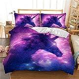 Housse de Couette Licorne Galaxie Étoile Parures de lit 2 Personnes Enfants Filles Chambre Rêver Arc en Ciel Cheval Violet Bleu Noir Scintillant Ciel étoilé Literie (Galaxie, 220x240 cm)