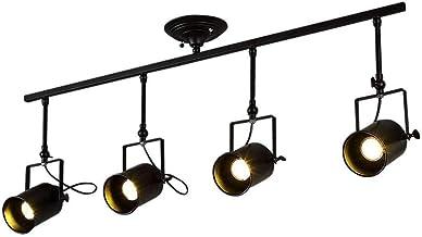 KCLQTK Rustic Nordic Black Spotlight Light Antique Flush Mounted Wrought Iron Track Lighting Fixture E27 Edison Adjustable...