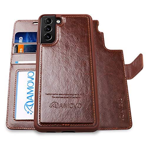 AMOVO Funda tipo cartera para Samsung Galaxy S21 Plus [2 en 1 desmontable, piel vegana, ranura para tarjeta] [cierre magnético] funda protectora para Galaxy S21+ (6,7 pulgadas) (marrón)