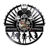 SSCLOCK Joueur de Football américain Horloge Murale Sport vestiaire décoration Murale Design Moderne Rugby Vinyle Disque Horloge Murale Fan de Football Cadeaux avec LED
