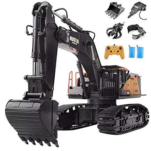 Escavatore radiocomandato giocattolo escavatore 4 in 1 scala 1/14, potenziamento a 22 canali Veicoli da costruzione completamente funzionali Camion RC ricaricabile con luci/suoni
