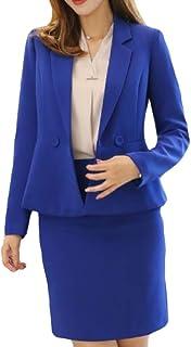 neveraway Women Solid-Colored Highwaist Office Slim Blazer and Skirt Suit Set