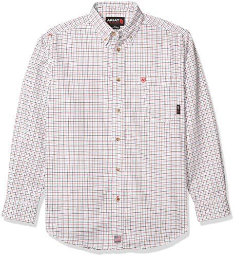 ARIAT mens Ariat Menâ€s Flame Resistant Button Down Shirt, White Multi, Medium US