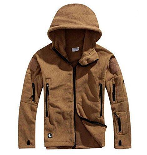 Noga Veste à capuche chaude en polaire pour homme, idéale pour la chasse, le camping (SAND, L)