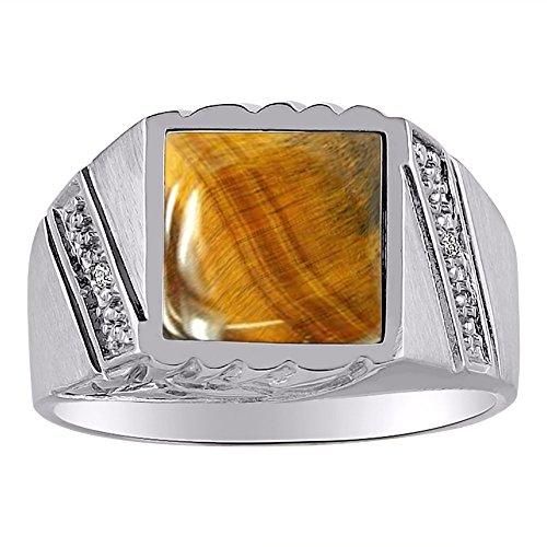 Mens Diamond & Anillo de ojo de tigre 14K amarillo o 14K oro blanco
