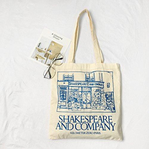 Heylookhere Dames Shakespeare and Company Engelse letterdruk canvas schoudertas eenvoudig winkelen handtas blauw