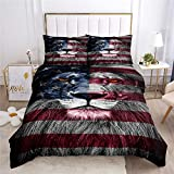 Lion Bedding Animal Duvet Cover SetTwin Size American Flag Lion Pattern Comforter Cover 1 Lion Head Duvet Cover 2 Pillowcases,Grey Black Soft Microfiber Bed Cover for Teen Boys Young Man