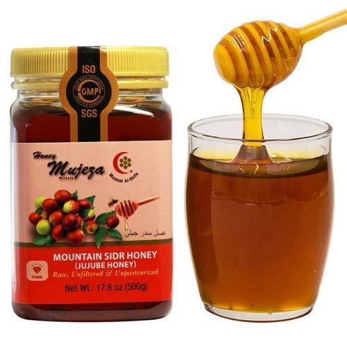 Authentic Mountain Sidr Honey - عسل سدر جبلي أصلي - Jujube Honey, Equal to Manuka Effectiveness Unheated Unfiltered Unprocessed 100% Natural Gluten Free Raw Liquid Honey ( Save $10 on bigger size) (500g / 17.6oz) عسل المعجزه - Mujeza Al Shifa