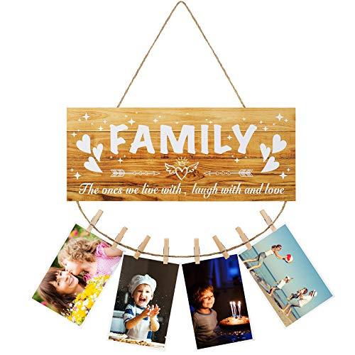 Marco de Fotos Colgante de Exhibición Fotos de Madera con Clips y Cordel, Marco de Fotos Letrero de Madera de Family para Decoración Pared Granja Rústica Dormitorio Colgante de Cuadros