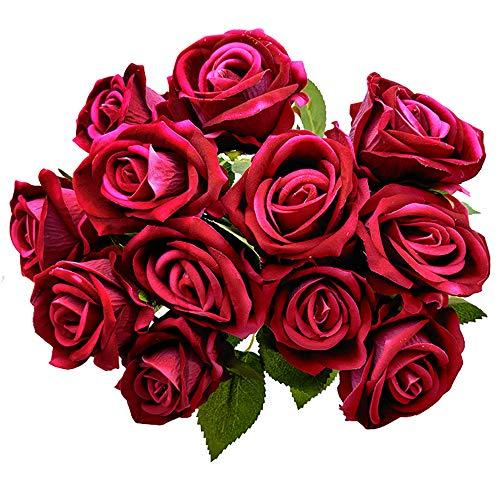 Aisamco 12 Piezas Artificial Rose Silk Flower Blossom Bouquet de Novia Rosas Artificiales con Tallos para la decoración de la Boda en el hogar