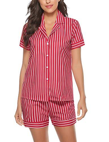 Aibrou Pijama Raya Mujer Verano Corto,Conjunto de Pijama Manga Clásico,Camiseta y Pantalones Suave y Comodo, 2 Piezas de Ropa para Dormir