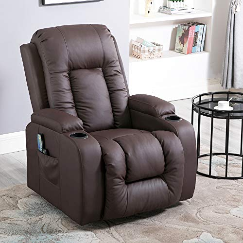 Redd Royal Power Recliner Chair - PU Leather Elderly Lift Chair - Electric Lift Recliner with Massage,Heat and Cup Holders (Dark Brown)