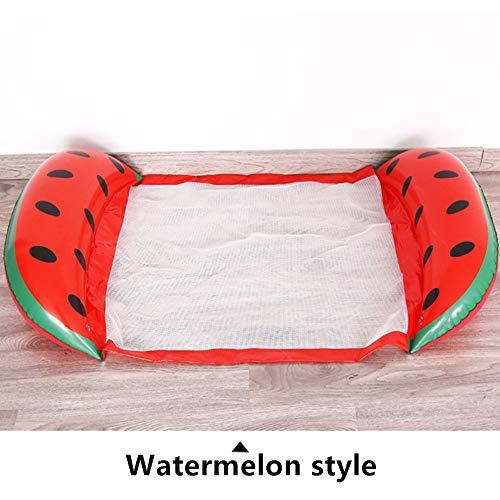 Fruit Floating Bed with Net Hammock,Water Hammock Floating Recliner Inflatable Floating Bed Summer Outdoor Ocean Lake Adults Kids 140 * 60cm/Watermelon hammock