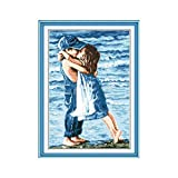2020 Nuevo Amantes En Mar contados impresas en lienzo 11CT bordado de punto de cruz kit de costura Set muchacha niñez y muchacho del beso