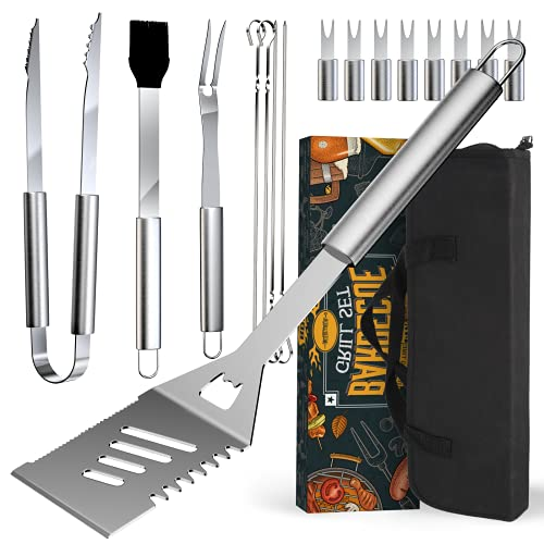 BBQ Grilling Accessories Set Tool Gifts - 16 PCS Gift for Men Women Grill Utensils Accessories Cooking Kitchen Tools Kit Stocking Stuffers for Men, Dad, Fathers in Outdoor Barbecue, Camping, Wedding
