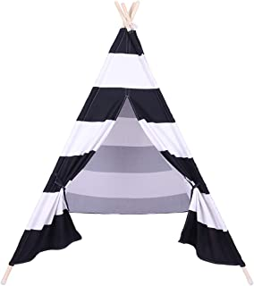 Hhobake Hhboke Indian Tent Children Teepee Tent Baby Indoor Dollhouse with Small Coloured Flags Roller Shade and Pocket Blue and White Stripes
