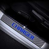 Para Dodge Charger El Protector Del Umbral De La Puerta,Placas De ProteccióN,Cubierta Del Umbral Del Pedal,Accesorio De DecoracióN De Coche Antideslizante Antirrayas De Fibra De Carbono