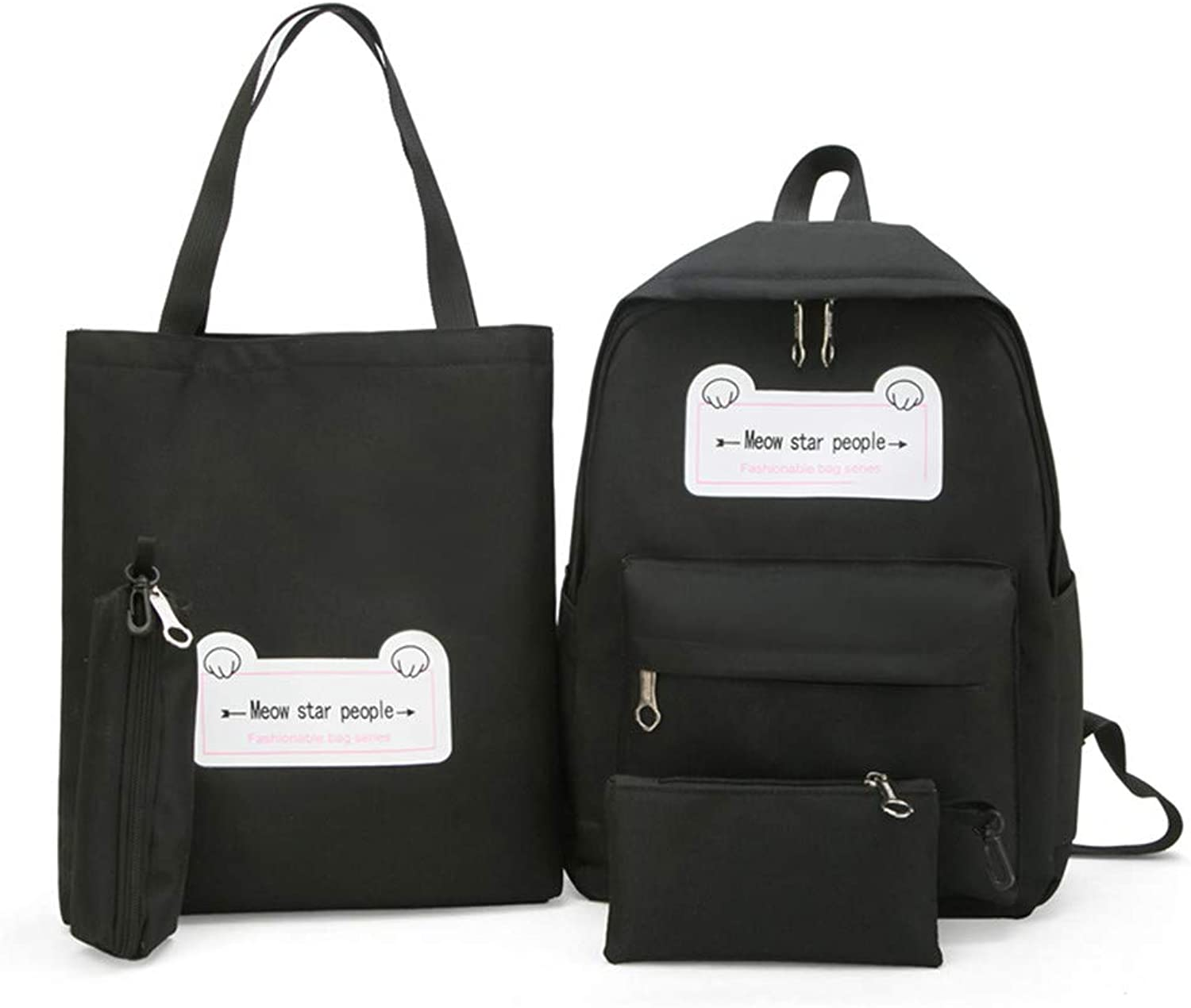 Junior high School Students LargeCapacity Canvas Backpack, Black Casual Practical Simple