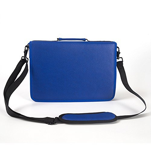 Shulaner 色鉛筆ケース 160スロット美術絵筆入れバック、素描鉛筆や美術絵筆などを入れる、大容量PU革製ショルダーハンド筆箱 (ブルー)