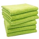 ZOLLNER Set di 6 Asciugamani da Bagno,50x100 cm, Verde, in Tanti Colori
