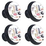 Suministros de cocina de estilo japonés ventilador de gato flor de cerezo Perillas de extracción de para gabinetes, armarios, puertas y cajones de muebles: se venden como un paquete de 4 perillas