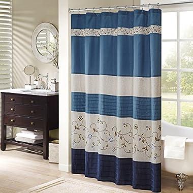 Madison Park Serene Shower Curtain, 72x72, Navy