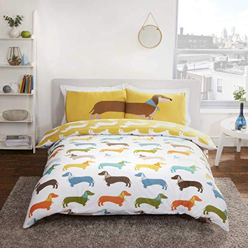 Rapport Reversible Dachshund Sausage Dog Duvet Cover, Polycotton, Ochre, King
