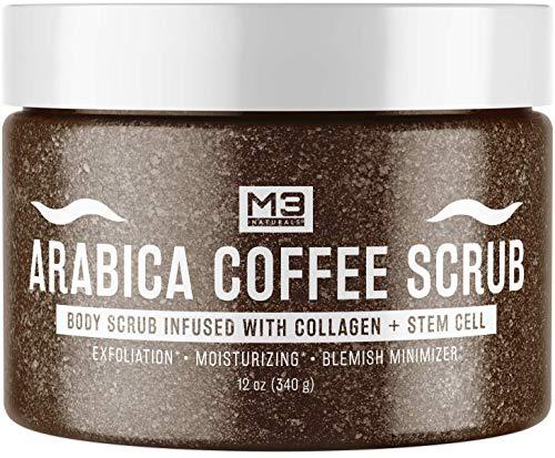 M3 Naturals Arabica Coffee Body Scrub Infused Collagen & Stem Cell - Best Natural Body Scrub, Facial Exfoliator, Anti Cellulite Scrub, Stretch Marks & Spider Vein Treatment 12oz
